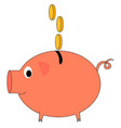 piggy bank with coins on white background vector image