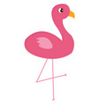 pink flamingo standing on one leg on white vector image