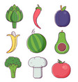 raw fruit sand vegetables icons vector image vector image