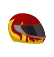 red racing helmet with flame decal and black visor vector image
