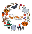 round frame with halloween icons vector image