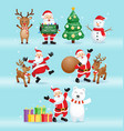 santa claus and friends for christmas day i vector image vector image