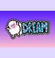 sheep with dream lettering stitched frame patch vector image vector image