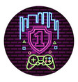 shield number one control neon video game wall vector image