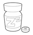 sleeping pill icon outline style vector image vector image