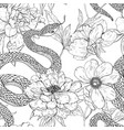 snakes and flowers seamless pattern vector image vector image