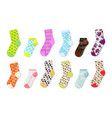 socks mockup realistic colored templates foot vector image vector image