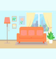 sofa with pillows and window with plants vector image