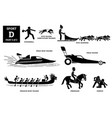 sport games alphabet d icons pictograph dodgeball vector image vector image