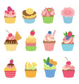 vanilla muffins and cupcakes with chocolate vector image vector image