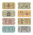 vintage theatre or cinema tickets with different vector image
