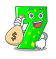 with money bag character paper cut number seven vector image vector image