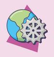 world planet gear work innovation vector image vector image