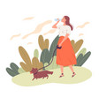 young woman walking her dog and drinking water vector image vector image