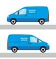Blue delivery van isolated view from two sides vector image