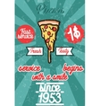 Pizza banner Vintage fast food background vector image