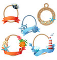 set of sea frames ropes with anchors seashells vector image