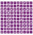 100 nursery icons set grunge purple vector image vector image