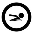 a man swims icon black color in circle vector image vector image