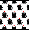 black sitting cat head with paw print and red vector image vector image