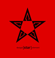 black star abstract design element with arrows