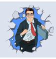 Businessman Breaking the Wall Pop Art vector image vector image