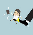 businesswoman being kicked by boss vector image vector image