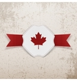Canada red Maple Leaf on realistic Badge vector image vector image