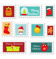 chiristmas postal stamps new year postage stamps vector image