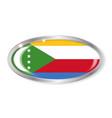 comoros flag oval button vector image vector image