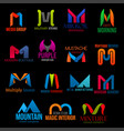 corporate identity m letter icons creative design