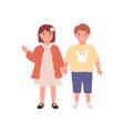 couple little boy and girl portrait happy vector image vector image