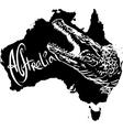 Crocodile on map of Australia vector image vector image