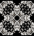 damask baroque black and white floral vector image vector image
