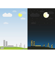 day and night in city vector image