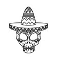 death day mask with mariachi hat vector image