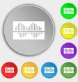 Equalizer icon sign Symbol on eight flat buttons vector image