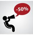 figure with loudspeaker - discount vector image