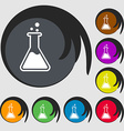 Flask icon Symbols on eight colored buttons vector image