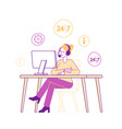 girl in headset hotline consultant character vector image