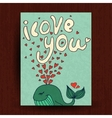 Greetings card with cute animals - whale and vector image vector image