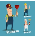 Hand drawn plumberpainter and mechanic characters vector image vector image