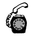 hand drawn retro phone in doodle grunge vector image