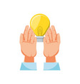 hands with light bulb isolated icon vector image vector image