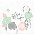 happy birthday floral japan style frame vector image vector image