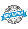 happy birthday stamp sign seal vector image vector image