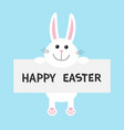 happy easter white bunny rabbit hanging on paper vector image vector image