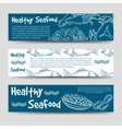 Horizontal banners with healthy seafood vector image vector image