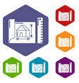 house plan icons hexahedron vector image vector image
