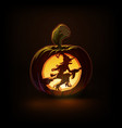 jack-o-lantern dark witch on broom vector image